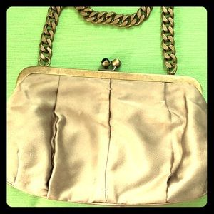 J Crew satin clutch/purse w chain